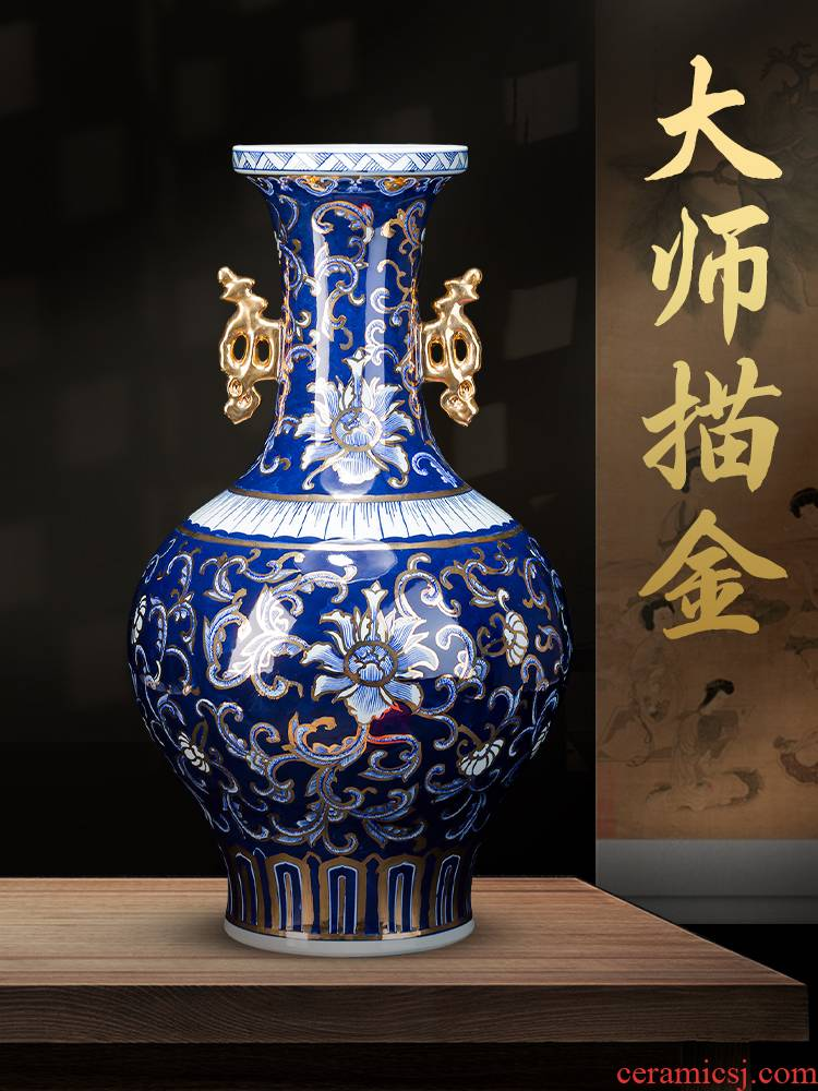 Jingdezhen ceramics master see colour light blue and white porcelain vase large antique Chinese style living room office furnishing articles of key-2 luxury