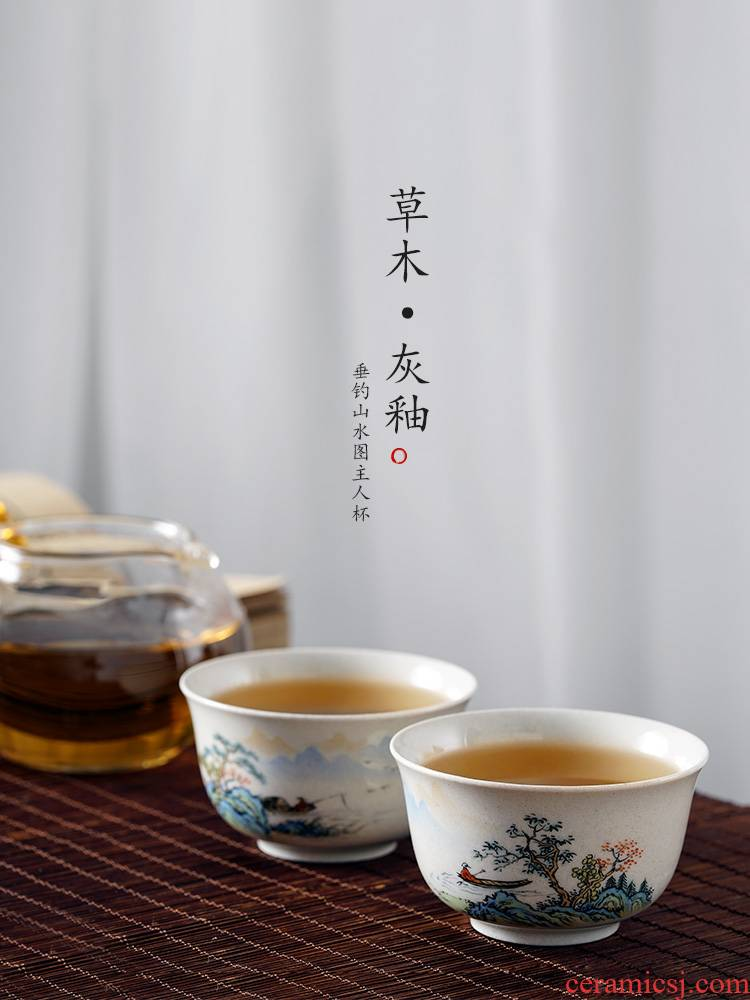 Jingdezhen Xie Shilin hand - made landscape master sample tea cup a cup of tea plant ash glaze kunfu tea for a cup of tea