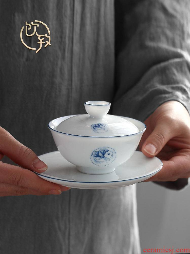 Ultimately responds to thin white porcelain jingdezhen blue and white tureen sweet white hand draw small manual tire three tea bowl of tea cups