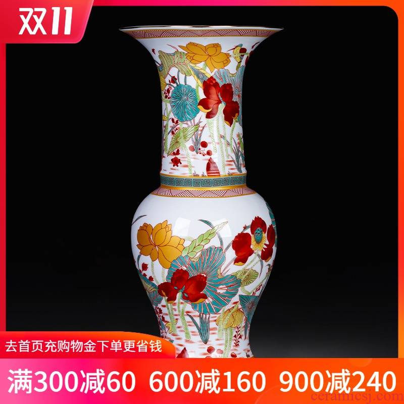 Jingdezhen ceramics enamel color floret bottle of Chinese style restoring ancient ways home sitting room porch rich ancient frame adornment furnishing articles