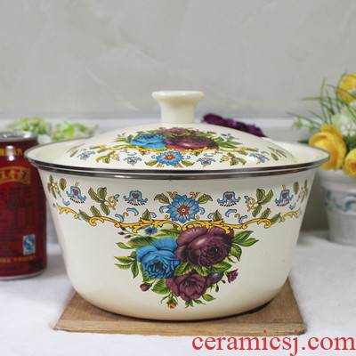 Widening thickening basin enamel POTS with cover household environmental work thick enamel bowls large soup bowl