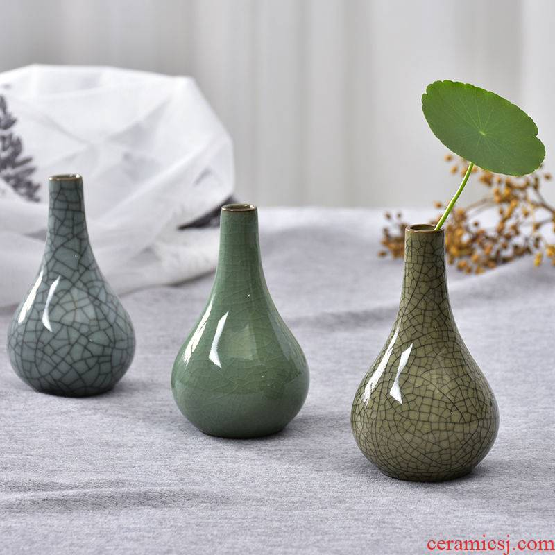 Longquan ooze art fang celadon net bottles of mini flower implement domestic act the role ofing mesa floret bottle hydroponic furnishing articles ceramics bottle restoring ancient ways