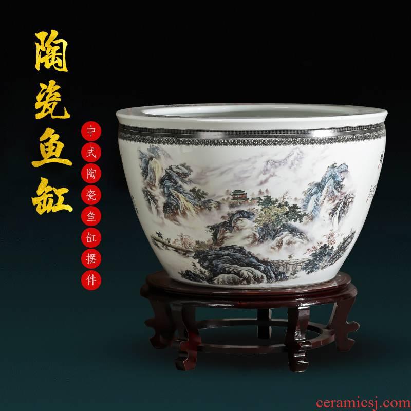 Jingdezhen chinaware big aquarium goldfish bowl the tortoise raise flower pot water lily cylinder courtyard place extra large sitting room