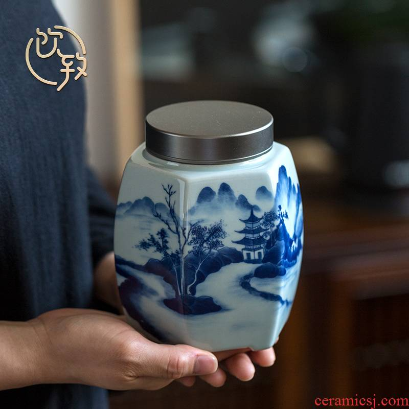 Ultimately responds to hand draw large ceramic tea canister to aluminum alloy cover seal pot kung fu tea storage POTS of household
