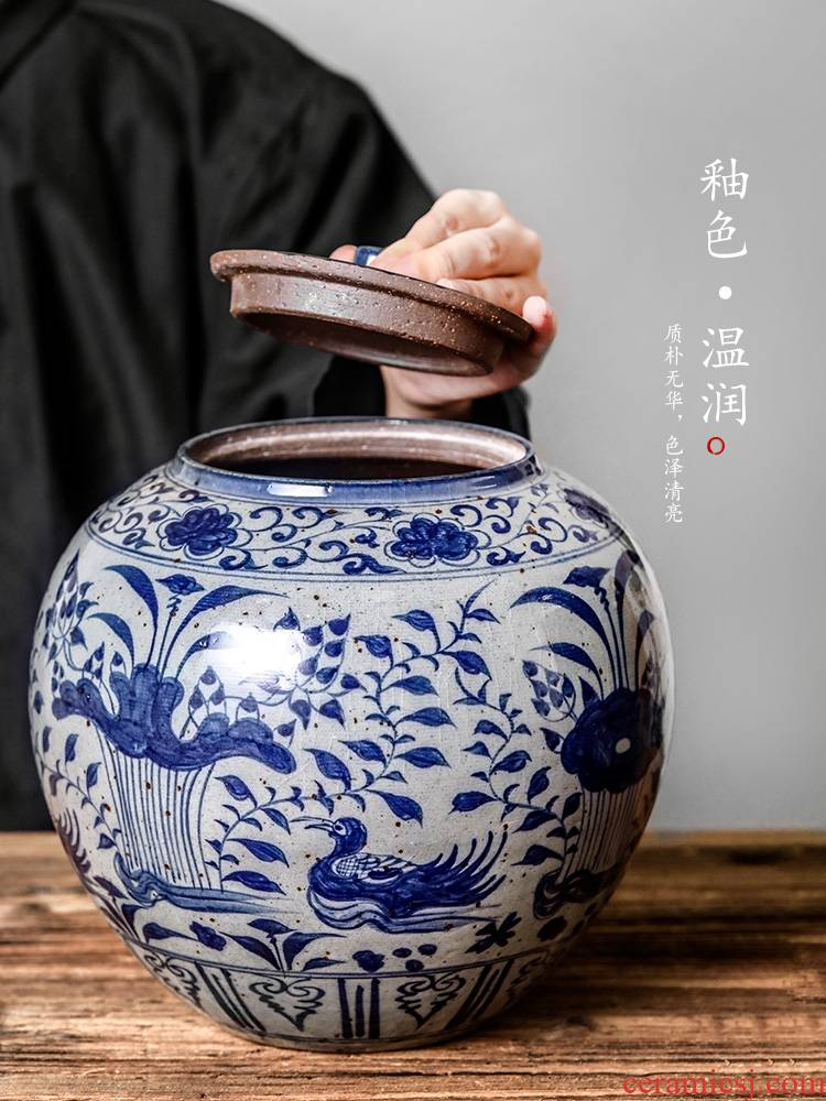 Blue and white yuanyang tea caddy fixings seal pot jingdezhen hand - made large storage tanks archaize puer tea boxes