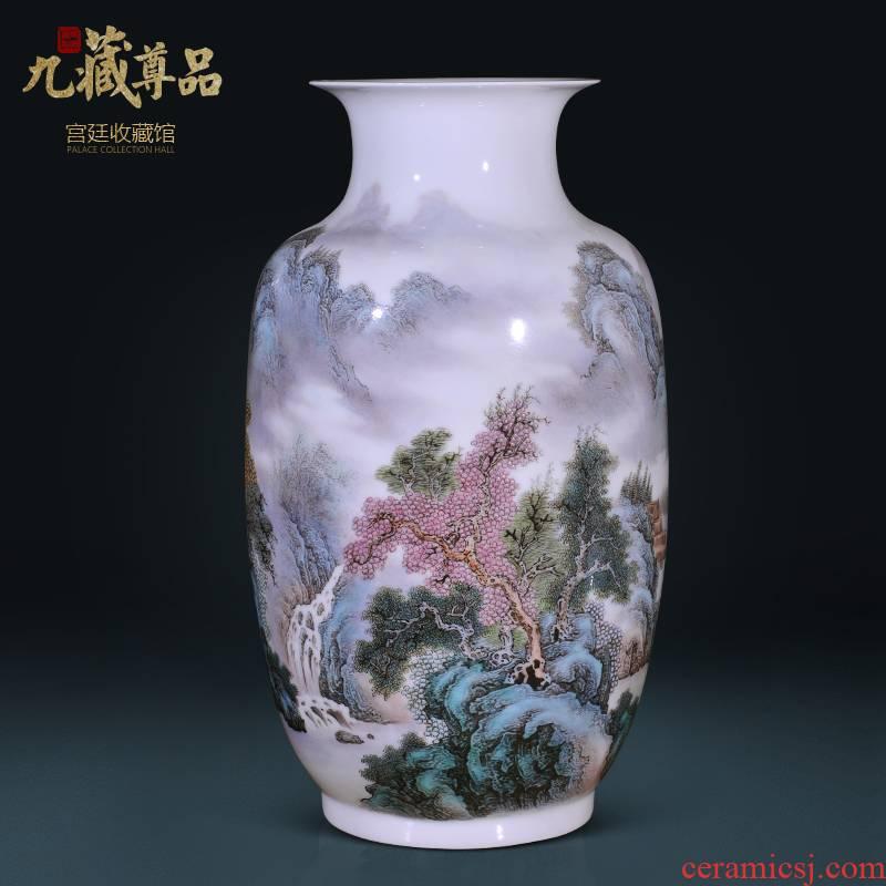 Jingdezhen ceramics Wang Guangtian hand - made lake xiuse vase Chinese style living room TV cabinet decorative furnishing articles arranging flowers