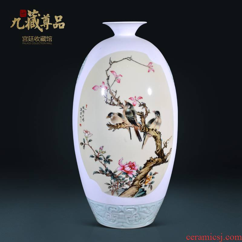 Jingdezhen ceramics Xiong Jian hand - made powder enamel vase Chinese style living room TV cabinet decorative furnishing articles arranging flowers