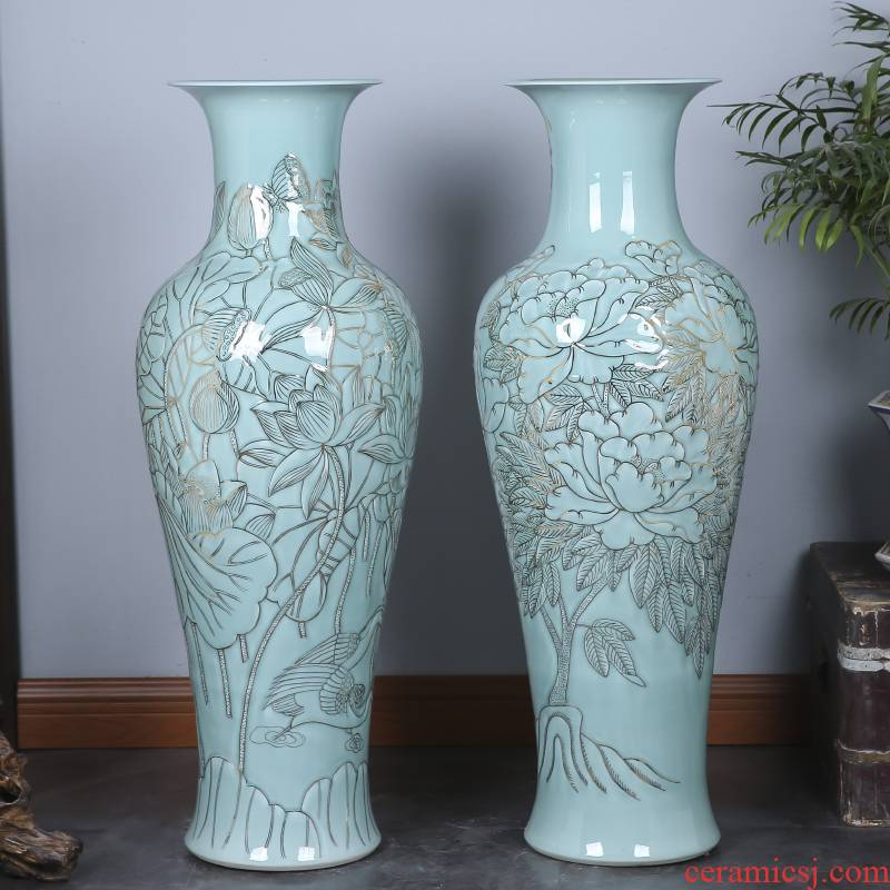 Jingdezhen ceramics hand - carved celadon big vase peony lotus home sitting room floor office furnishing articles