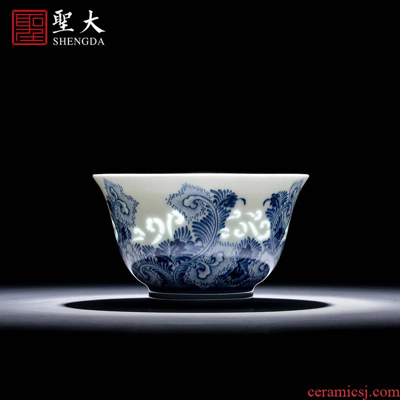 The big sample tea cup hand - made porcelain cups and exquisite ceramic kung fu tang grass grain masters cup of jingdezhen tea service by hand