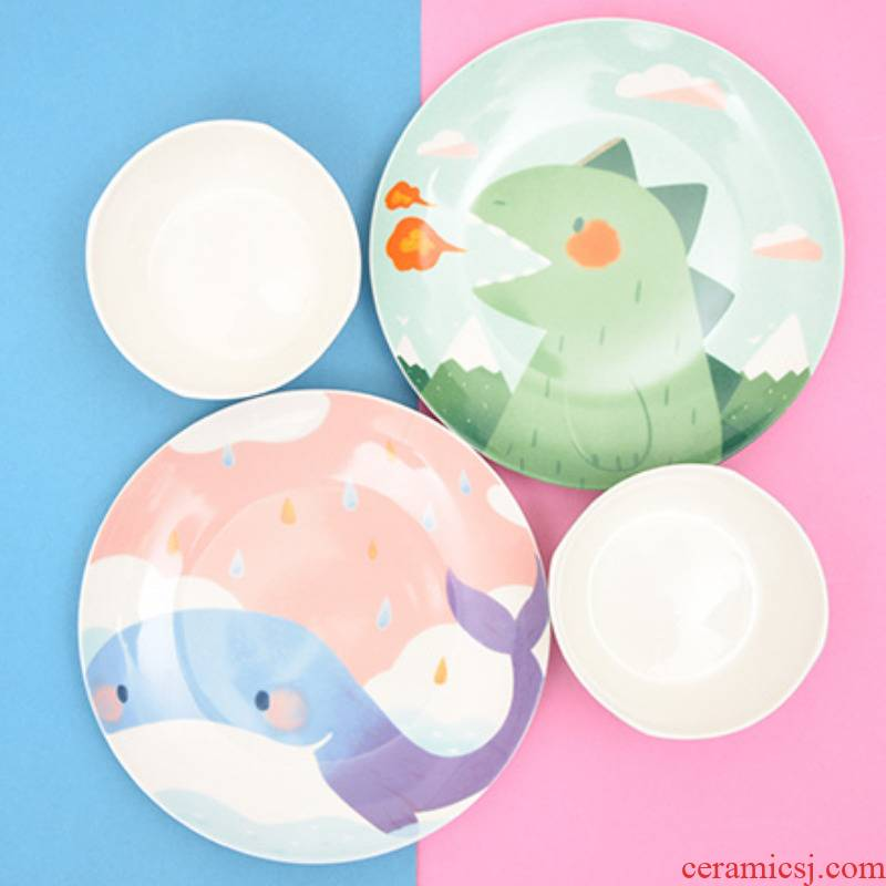 Cartoon dishes household ceramics express girl heart good dishes children eating dinosaurs bowl of individual student dishes