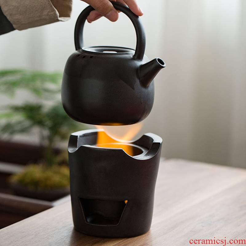 Japanese charcoal'm burning furnace girder pot of large olive charcoal stove fire boil tea tea tea stove ceramic zen kung fu tea set