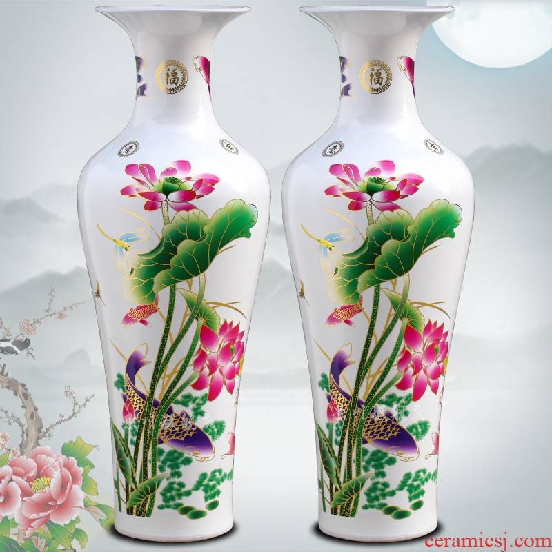 Jingdezhen ceramic home sitting room is contracted and I furnishing articles gold peony flower arranging landing big vase decoration