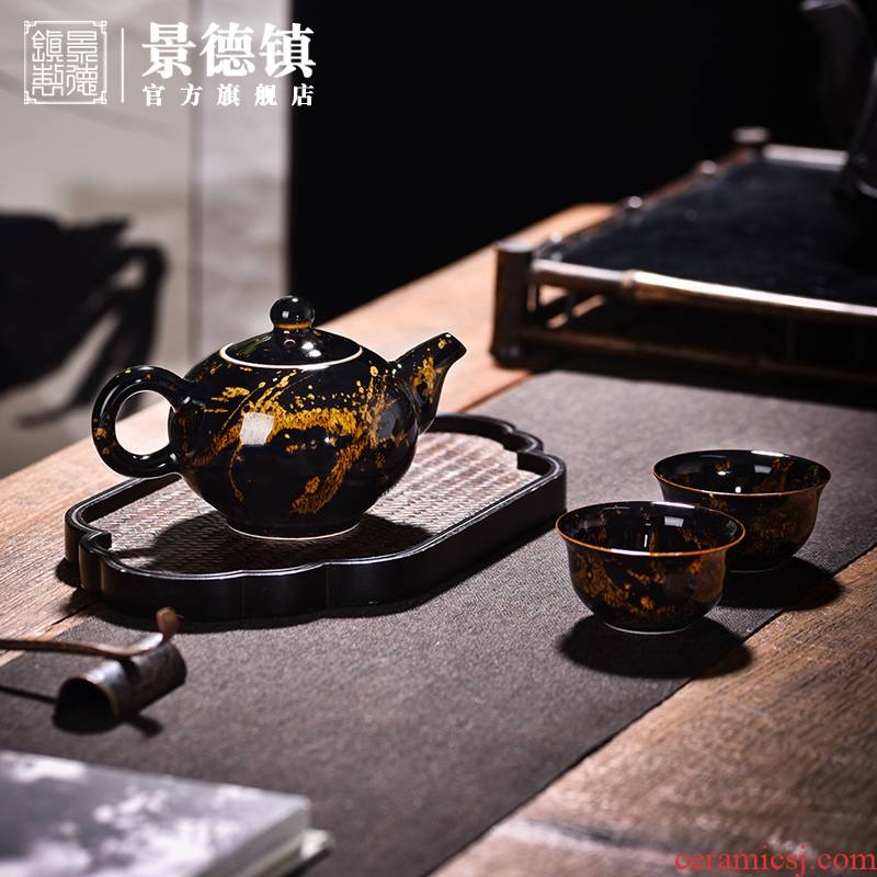 Jingdezhen flagship store hawksbill tea set suits for Chinese household checking gift boxes ceramic teapot high temperature porcelain gifts