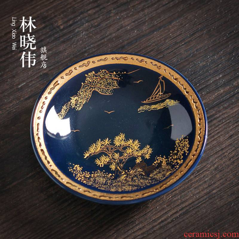 Cloisonne mat small colored enamel cup mat anti hot cup mat cup creative ceramic kung fu tea set with parts