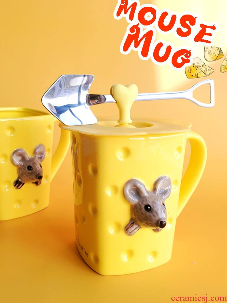 Cartoon mouse in ceramic cup cheese rat move benmingnian mark cup with cover ins contracted household glass mou