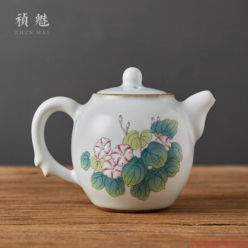 Shot incarnate your up hand - made open piece of morning glory pot of jingdezhen ceramic kung fu tea set every household teapot single pot