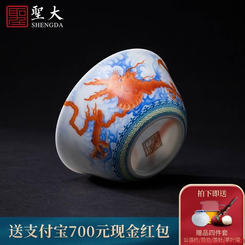 Santa teacups hand - made ceramic kungfu heavy colored enamel alum red dragon grain lie fa cup sample tea cup of jingdezhen tea service