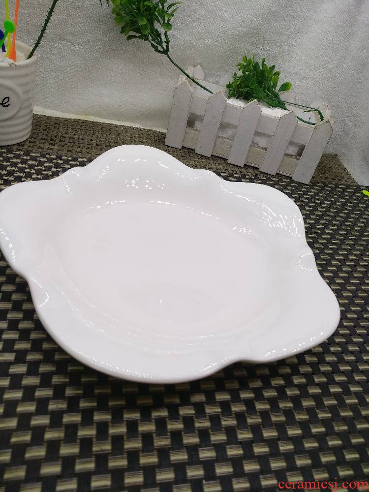 Hotel Hotel irregular ceramic plate of white lace plate special - shaped western - style food plate big ltd. dish plate tableware