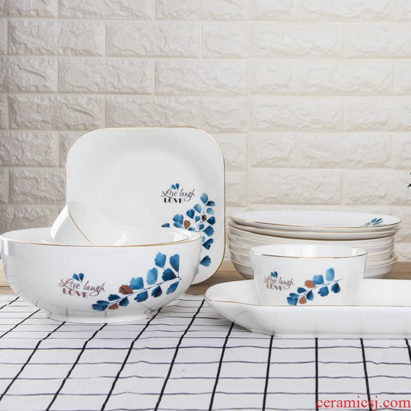 Ceramic plate household breakfast tray was European contracted dumpling dish to eat rainbow such as bowl dish dish dish plate combination