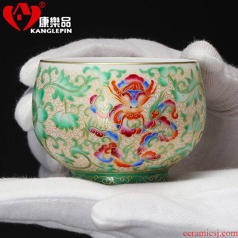Recreational taste pure hand - made wire inlay enamel see colour longfeng master of kung fu tea cups meditation cup ceramic sample tea cup