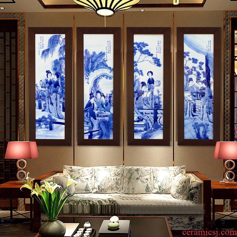 Jingdezhen blue and white porcelain plate painting unique American four screen home sitting room adornment study background wall hang a picture
