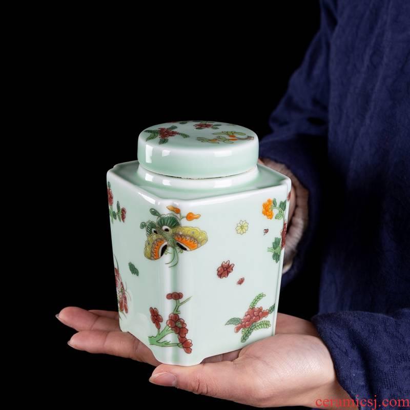 Big yards, celadon ceramic tea set portable pu - erh tea storage box storage tanks seal tank large caddy fixings