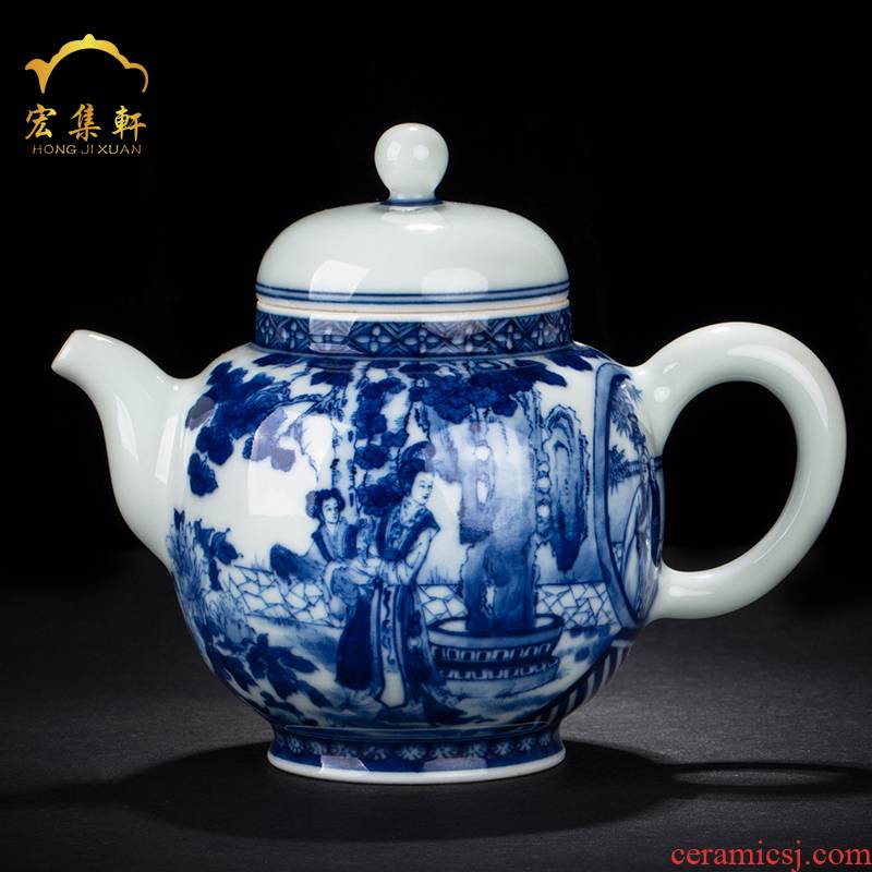 The teapot single pot of jingdezhen blue and white characters maintain large large capacity domestic hand - made teapot kung fu tea set
