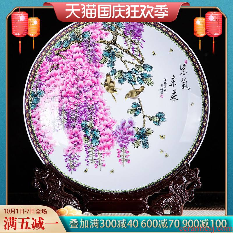 Jingdezhen ceramics sabingga sukdun dergici jimbi plate furnishing articles of Chinese style living room rich ancient frame home decoration wine process