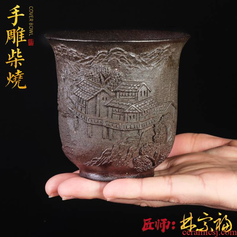 Artisan fairy pure manual firewood masters cup tea ceramic household unglazed anaglyph restoring ancient ways, single CPU large sample tea cup