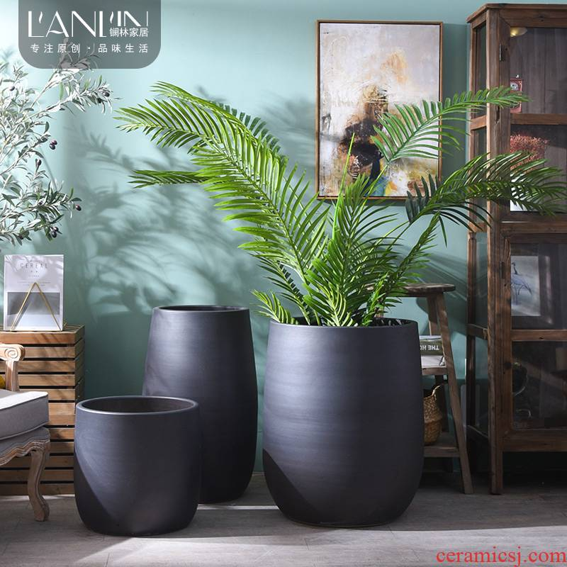 The modern creative furnishing articles contracted ceramic vase flower arrangement sitting room green plant is big big home decoration