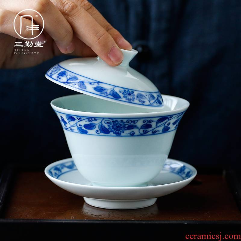 The three frequently tureen suit household sample tea cup of jingdezhen ceramic hand - made kung fu tea set S13006 blue tie up branches