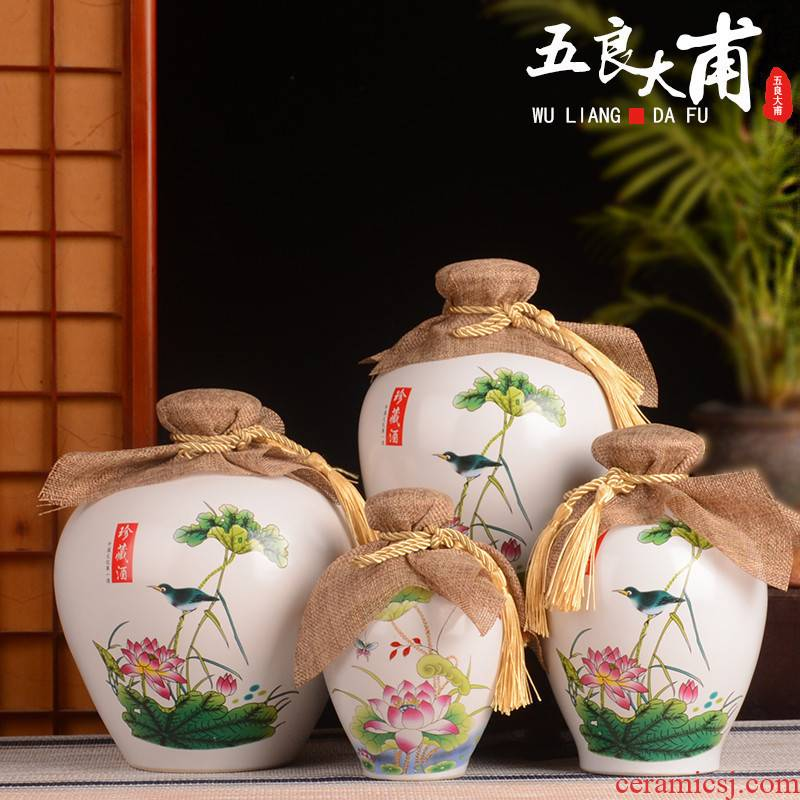 Ceramic bottle home antique Chinese liquor bottle 1 catty 5 jins of 10 small jars empty wine sealed jar