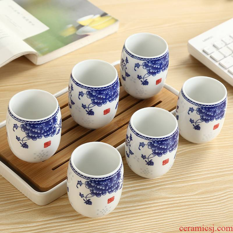 Ceramic cups suit Japanese jingdezhen blue and white porcelain cup six installs glass only to restore ancient ways contracted household porcelain cup