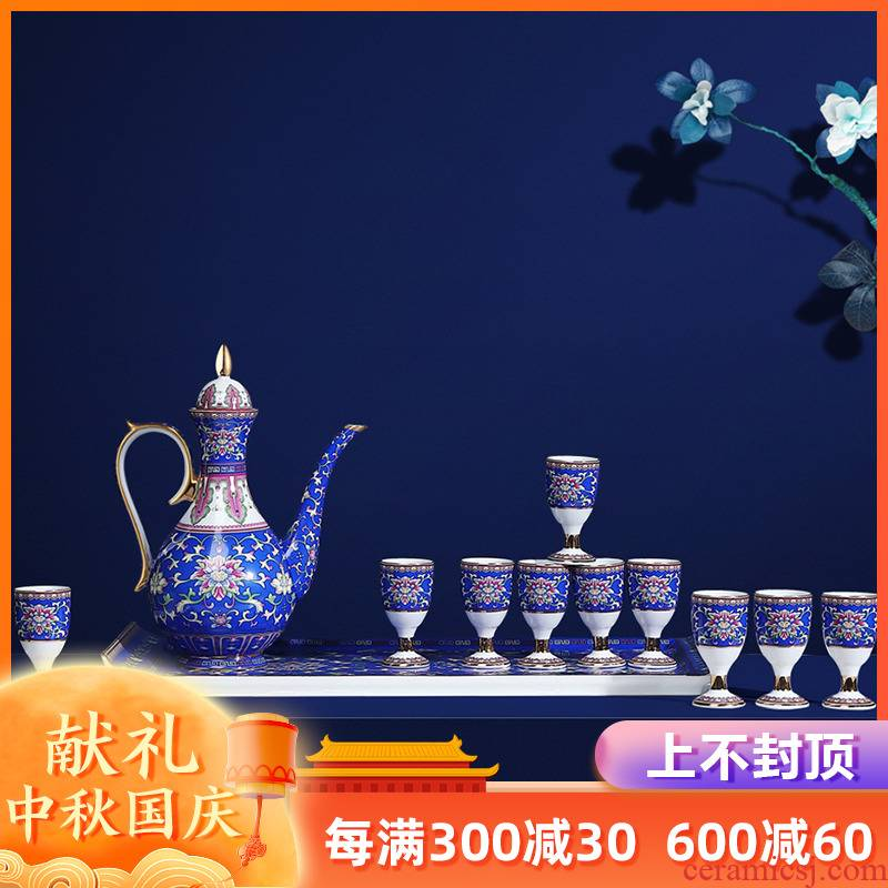 Artisan fairy colored enamel ceramic wine suits for Chinese style antique household small white wine glass goblet creative points