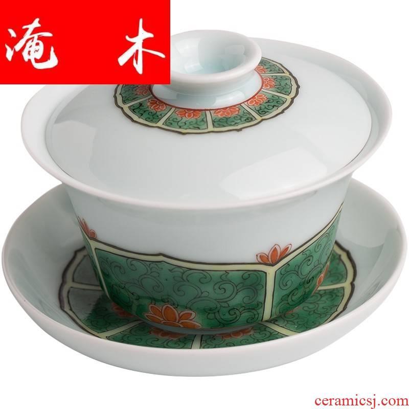 Flooded jingdezhen, lotus - shaped wood grain only three tureen hand - made colors make tea tea bowl, cover glass ceramic kung fu tea set