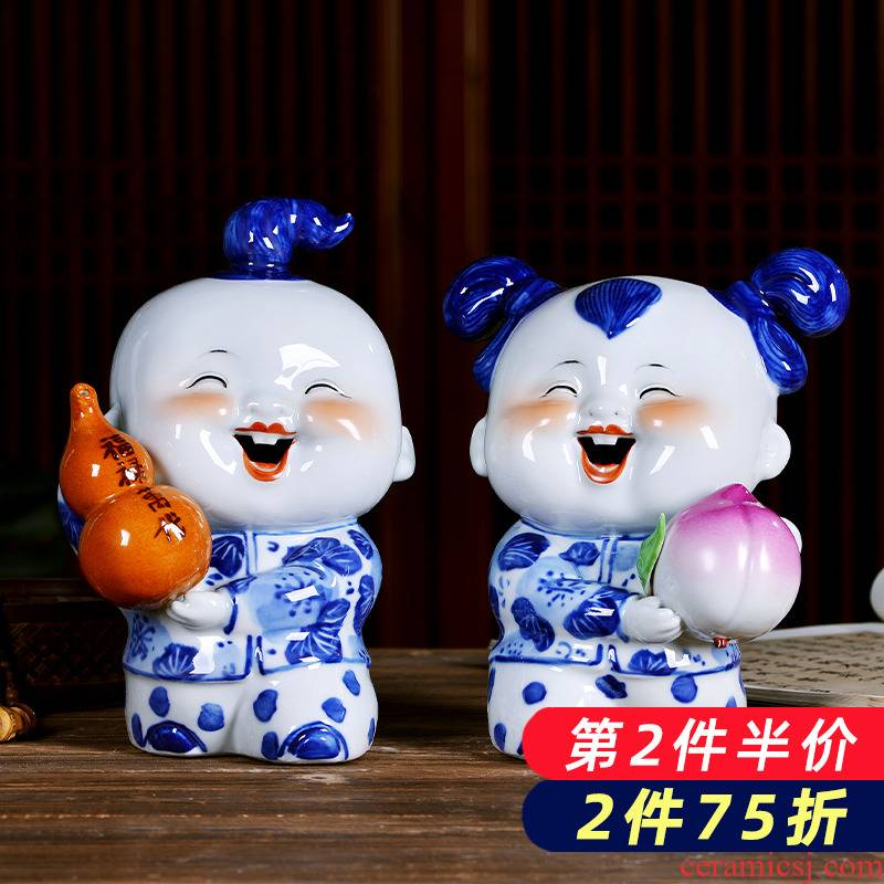 Jingdezhen porcelain ceramics festival of blue and white porcelain dolls furnishing articles wedding gift Chinese style household act the role ofing is tasted in the living room