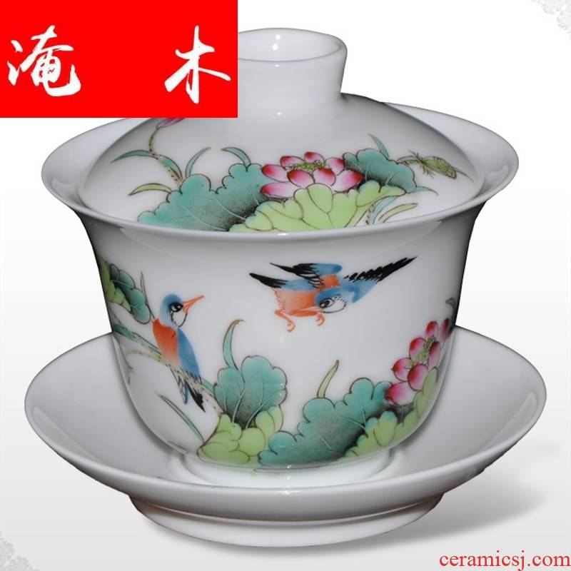Submerged wood jingdezhen hand - made famille rose porcelain tea sets tea tureen popularity only three cup tea cup quality goods