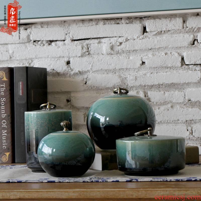 Shadow enjoy | jingdezhen ceramics up hoop deposit receives a caddy fixings manually pull embryo glaze caddy fixings JH