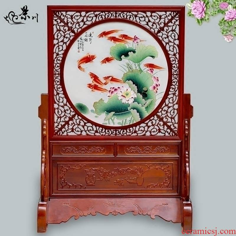 Jingdezhen ceramic hand - made porcelain plate painting sofa setting wall hang a picture to the sitting room porch partition screen copy classic adornment