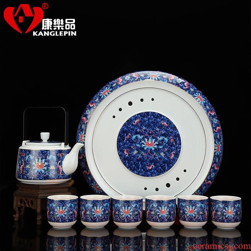 Recreational product girder pot of high - capacity ceramic colored enamel teapot teacup with teapot set of kung fu tea set