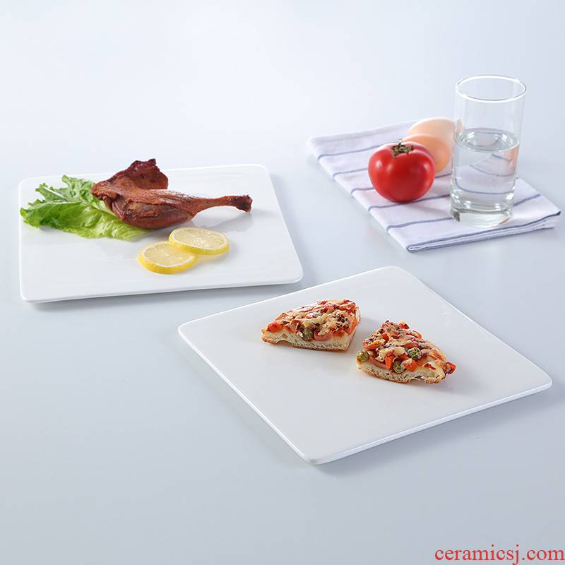 Pure white ceramic plate steak dinner plate plate plate plate plate sushi plate cake Japanese plate hotel tableware