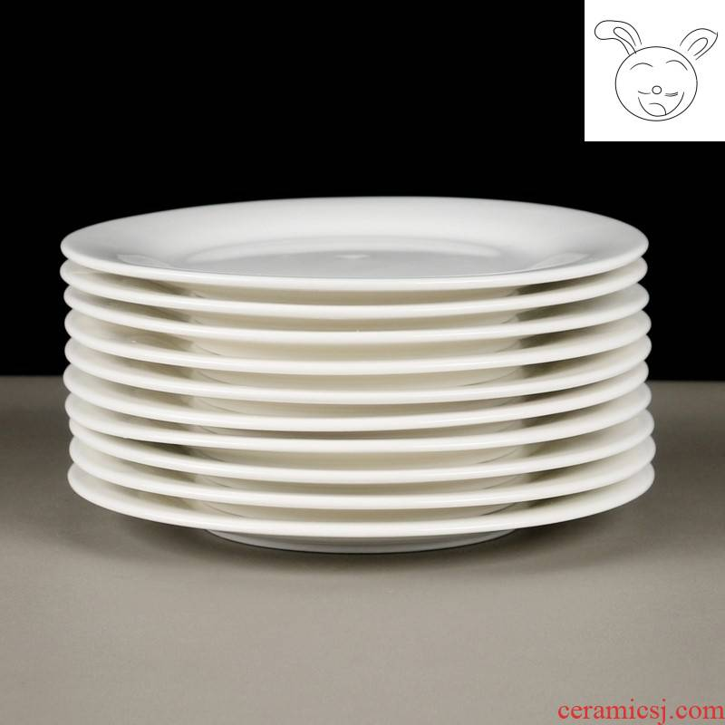 10 home restaurant hotel restaurant ceramic plates 6 to 7 inches round white bare-bones shallow plate side dishes