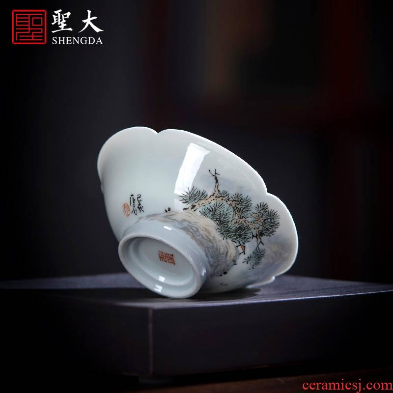 Santa teacups hand - made ceramic kung fu new color landscape poetry haitang lamp that masters cup sample tea cup of jingdezhen tea service