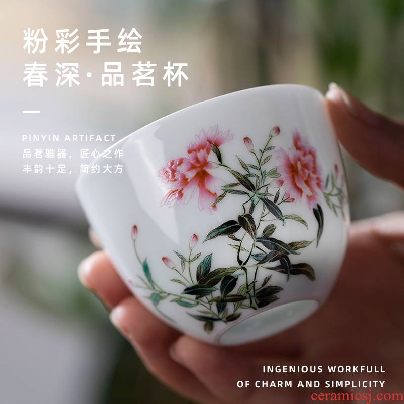 Spring deep sample tea cup pure manual painting kung fu tea cups jingdezhen household small cups ceramic tea set