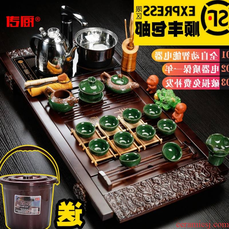 The kitchen utensils of a complete set of automatic solid wood tea set household violet arenaceous kung fu tea tray table ceramic parts of tea