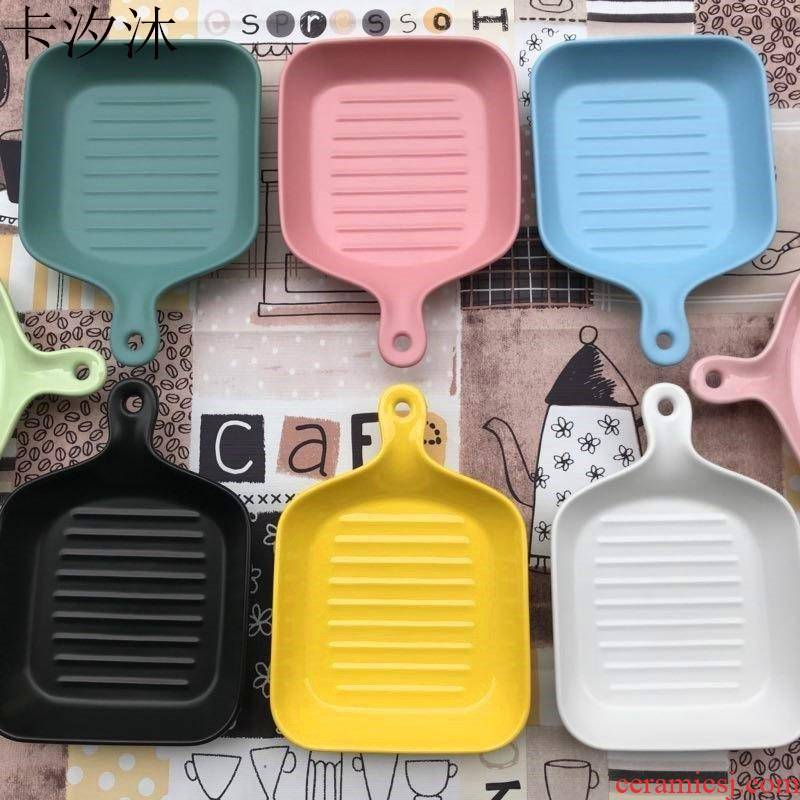 Nordic creative household paella grilled cheese dishes single handle ceramic western - style bread plate oven cutlery set.