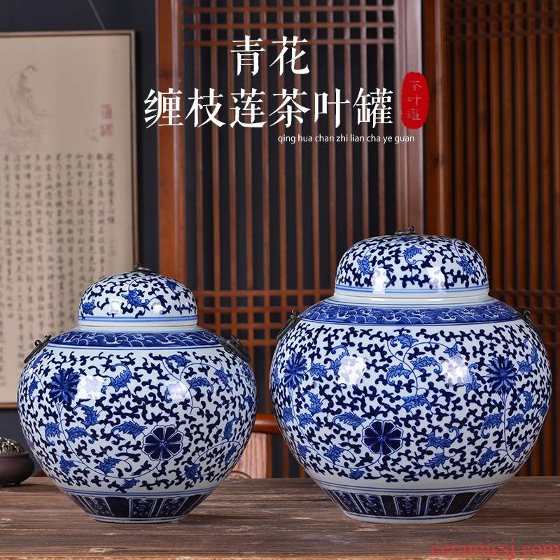 Blue and white porcelain of jingdezhen ceramics storage tank with cover large caddy fixings Chinese style home sitting room adornment is placed