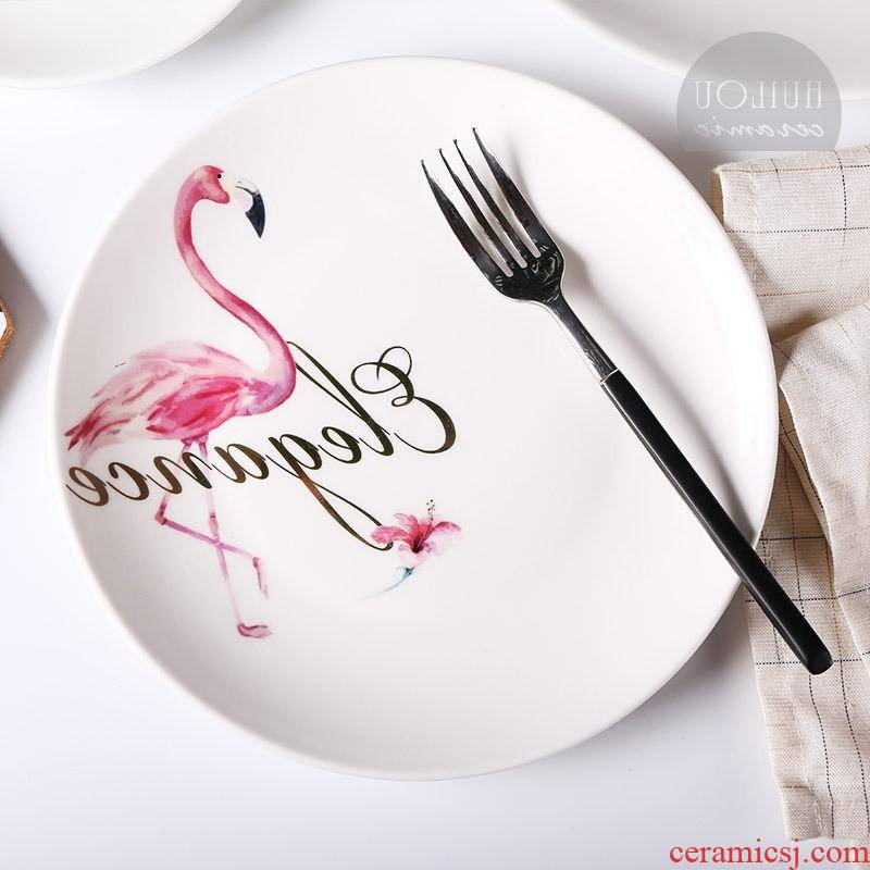 The kitchen INS and flamingos ceramic plate creative western food steak pan home dinner dish plates set meal