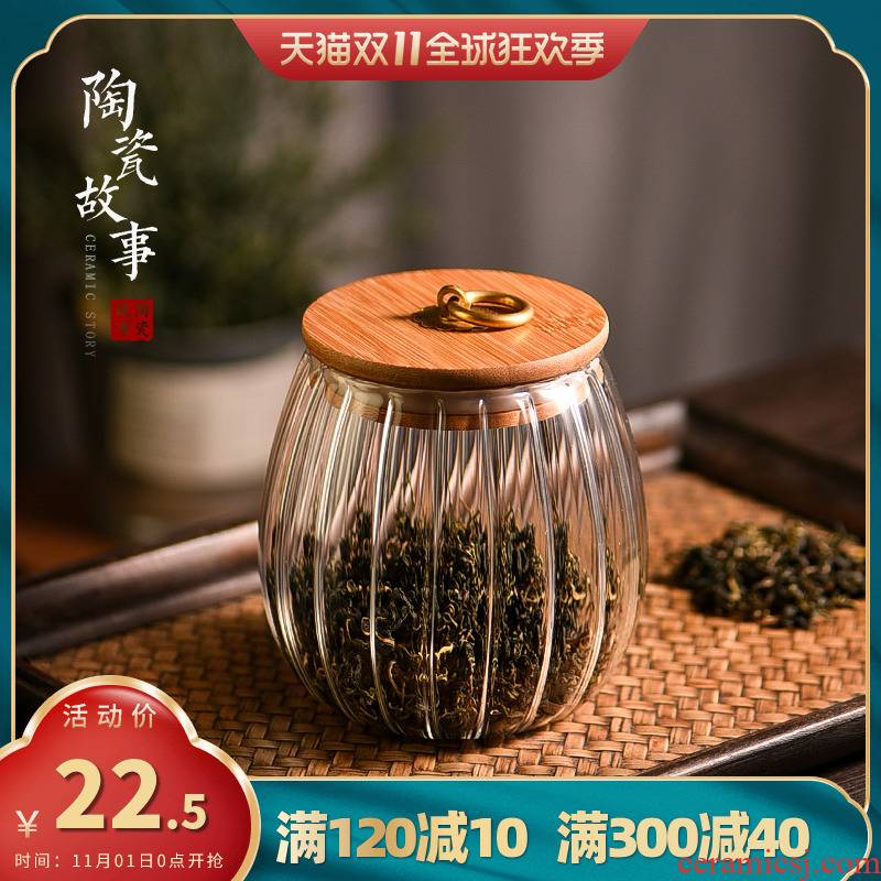 Ceramic tea pot story glass sealed household kitchen grains beans store 'lads' Mags' including nuts Japanese wake POTS