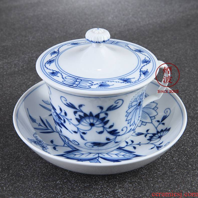 German mason mason meisen porcelain blue onion tureen tea cups and saucers set tea service
